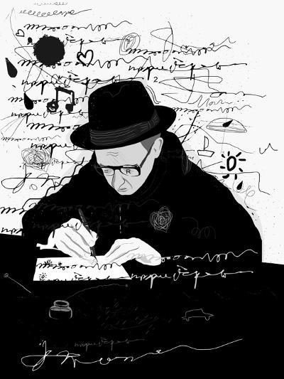 Symbolic Image of a Man Who Writes a Letter with Pen and Ink-Dmitriip-Art Print