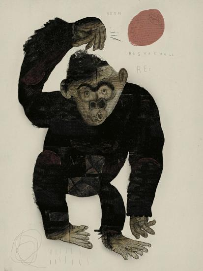 Symbolic Image of a Monkey that Throws a Basketball Ball-Dmitriip-Art Print