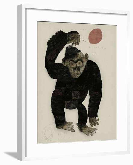 Symbolic Image of a Monkey that Throws a Basketball Ball-Dmitriip-Framed Art Print