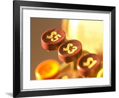 Symbols and Numbers on Buttons of Antique Cash Register--Framed Photographic Print