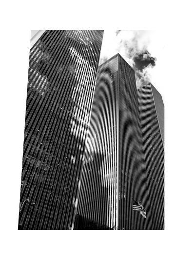 Symetric Perspective Skyscraper in Manhattan, NYC, White Frame, Full Size Photography-Philippe Hugonnard-Photographic Print