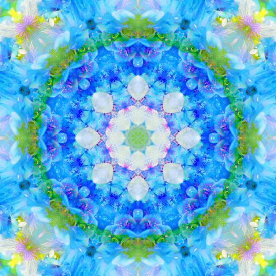 Symmetric Ornament Mandala from Flowers in Blue and Green Tones-Alaya Gadeh-Photographic Print