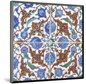 Symmetrical Floral Decoration on Four Tiles, 16th Century