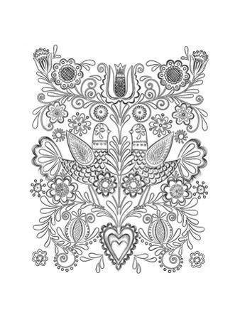 Symmetrical Whimsical Birds and Flowers Design