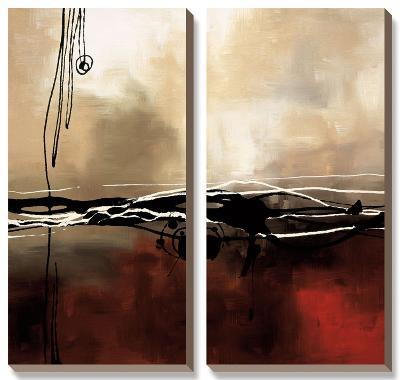 Symphony in Red and Khaki I-Laurie Maitland-Canvas Art Set