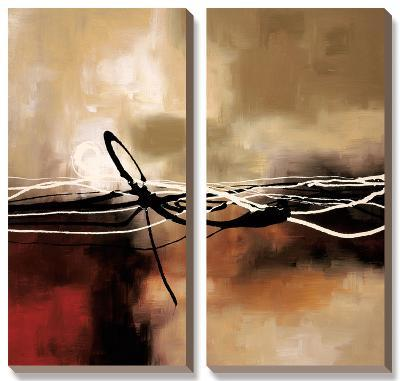 Symphony in Red and Khaki II-Laurie Maitland-Canvas Art Set