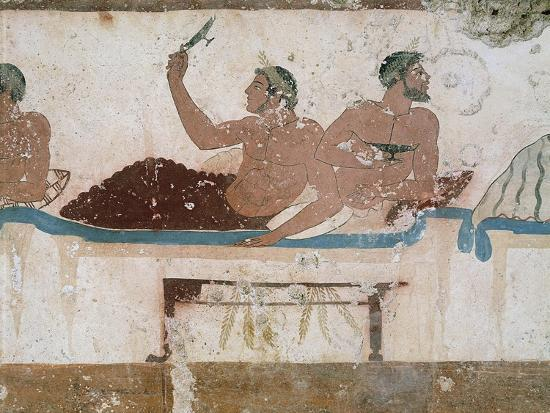 Symposium Scene, Circa 480-490 BC, Decorative Fresco from South Wall of Tomb of Diver at Paestum--Giclee Print