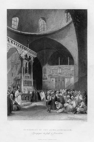 Synagogue of the Jews, Jerusalem, Israel, 1841-J Redaway-Giclee Print
