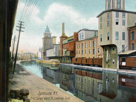 Syracuse, New York, Eastern View down West Street on the Erie Canal-Lantern Press-Art Print