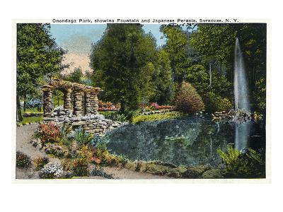 Syracuse, New York - Fountain and Japanese Pergola at Onondaga Park-Lantern Press-Art Print