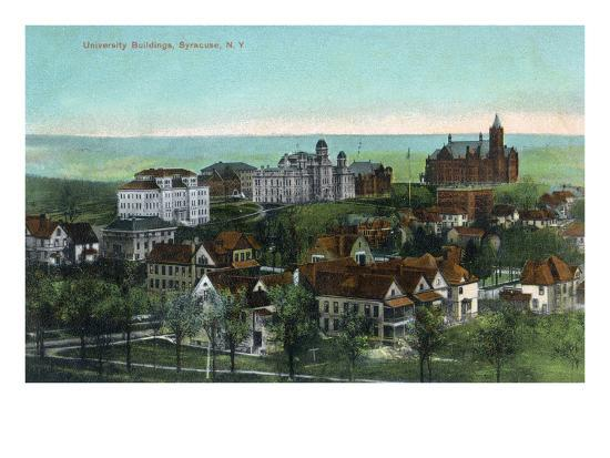 Syracuse, New York - Panoramic View of the University and Grounds-Lantern Press-Art Print