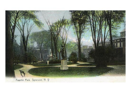 Syracuse, New York - Scenic View of Statue in Fayette Park-Lantern Press-Art Print