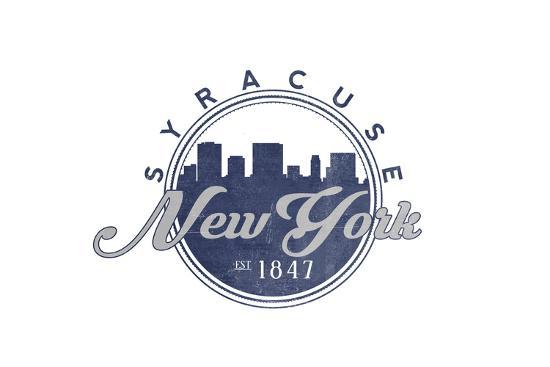 Syracuse, New York - Skyline Seal (Blue)-Lantern Press-Art Print