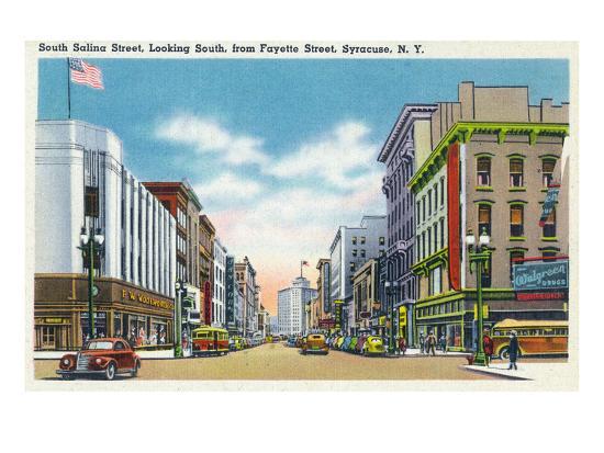 Syracuse, New York - South View Down Salina St from Fayette St-Lantern Press-Art Print