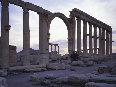 Syria, Palmyra, Great Colonnaded Street in Front of Intersection of Tetrapylon--Photographic Print