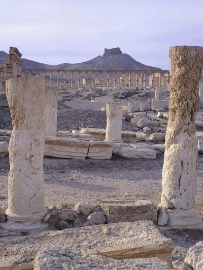 Syria, Palmyra, View of Ruins with Umayyad Fortress in Background--Photographic Print