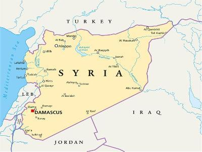 Syria Political Map-Peter Hermes Furian-Art Print