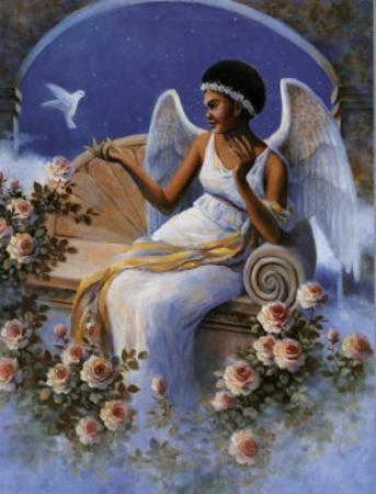 Black Angel with Dove