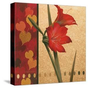 Red Amaryllis with Damasque by T. C. Chiu