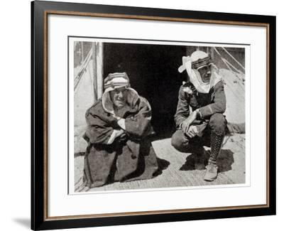 T. E. Lawrence and Mr L. Thomas outside their tent, 1919--Framed Giclee Print