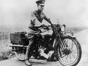 T E Lawrence (Lawrence of Arabia) Sitting on His Motorbike