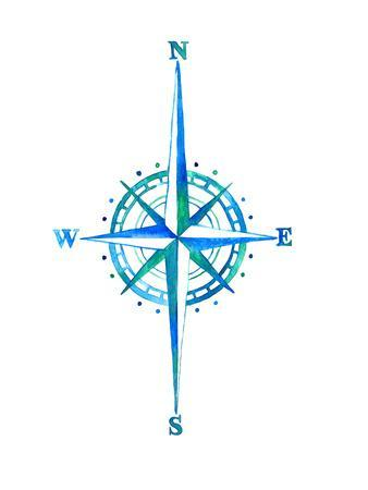 Compass Rose Watercolor