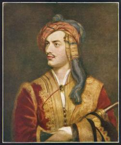 George Gordon Lord Byron English Poet Depicted Here in His Costume as a Greek Patriot by T. Phillips