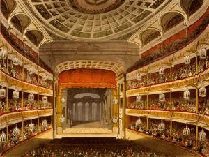 New Covent Garden Theatre, from Microcosm of London, 1810 by R Ackermann by T. & Pugin Rowlandson