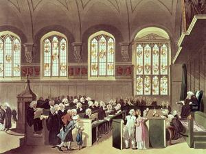 The Court of Chancery, Lincoln's Inn Fields, 1808 from Ackermann's 'Microcosm of London' by T^ & Pugin Rowlandson