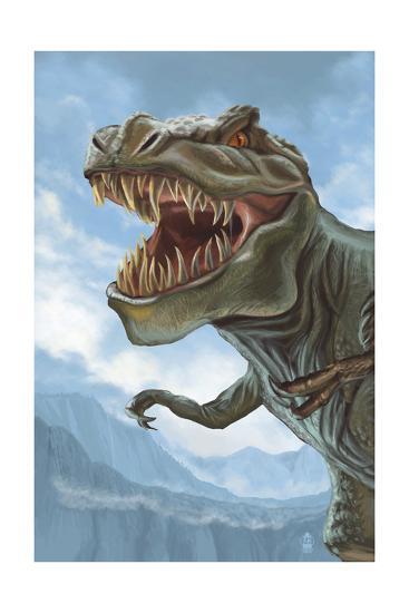 T Rex Dinosaur-Lantern Press-Art Print