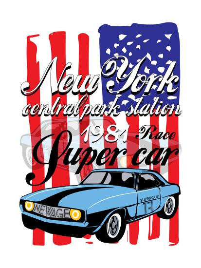T-Shirt Graphics. Vintage Race Car for Printing.Vector Old School Race Poster.Retro Race Car Set.T--emeget-Art Print