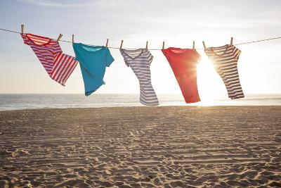 T-Shirts Hanging on a Clothesline at the Beach-Siri Stafford-Photographic Print
