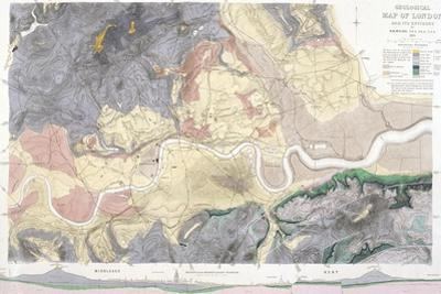 Geological Map of London and the Surrounding Area, 1871 by T Walsh