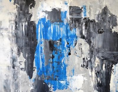 Blue And Grey Abstract Art Painting by T30Gallery