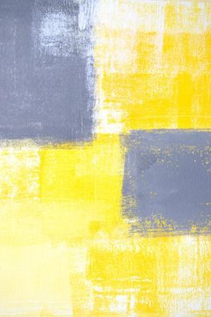 Grey And Yellow Abstract Art Painting by T30Gallery