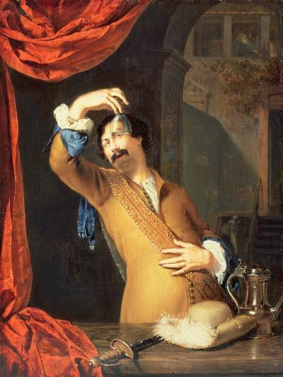 T31553 a Cavalier Standing at a Window Examining a Roemer (Panel)-Willem Van Mieris-Giclee Print