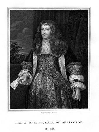 Henry Bennet, 1st Earl of Arlington, English Statesman