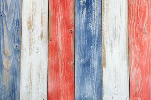 Stressed Wooden Boards Painted Red, White and Blue for Patriotic Concept of United States of Americ by tab62