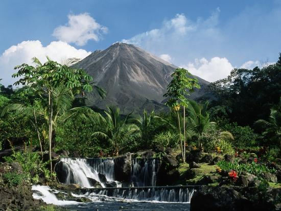 Tabacon Hot Springs and Volcan Arenal-Kevin Schafer-Premium Photographic Print