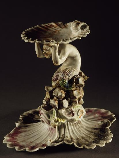 Table Centerpiece with Triton Holding Up Shell--Giclee Print