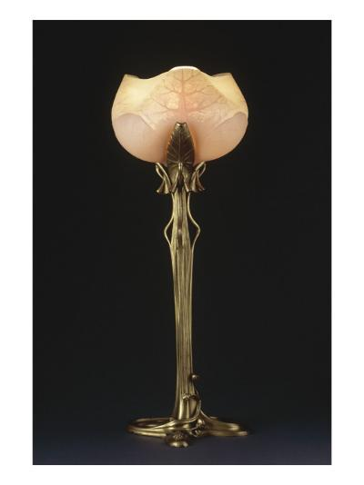 """Table Lamp """"Waterlily"""" Model Created Circa 1902-1904-Louis Majorelle-Giclee Print"""