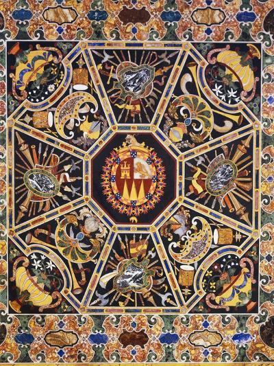 Table with Polychrome Marble Top and Inlaid Semi-Precious Stones Depicting Coat of Arms--Giclee Print