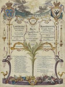 Tableau des princes et princesses témoin au mariage à Versailles du Dauphin