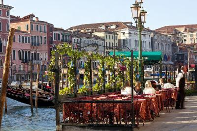 Tables Outside Restaurant by Grand Canal, Venice, Italy-Peter Adams-Photographic Print