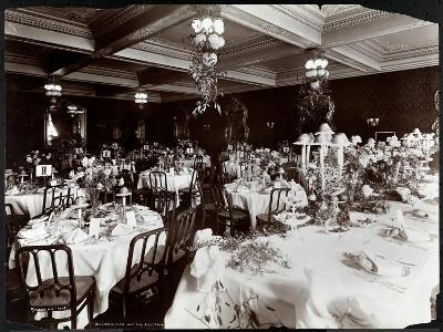 Tables Set for the Electric Club's Banquet at Hotel Delmonico, 1902-Byron Company-Giclee Print