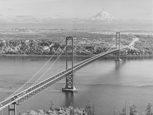 Tacoma Narrows Bridge from Gig Harbor Towards Tacoma, WA (ca. 1950)
