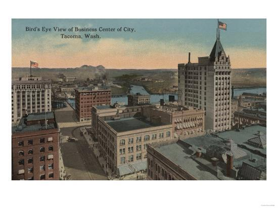 Tacoma, WA - Bird's Eye View of Downtown-Lantern Press-Art Print