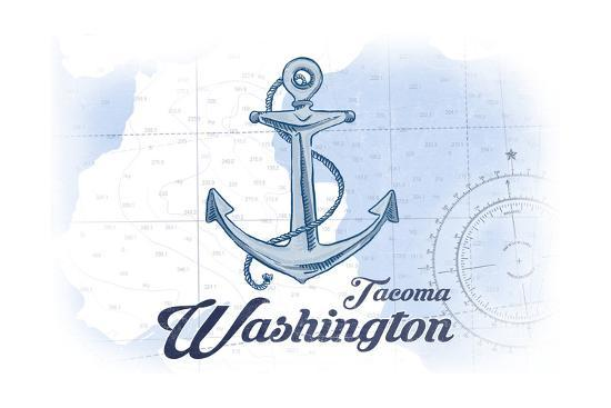 Tacoma, Washington - Anchor - Blue - Coastal Icon-Lantern Press-Art Print