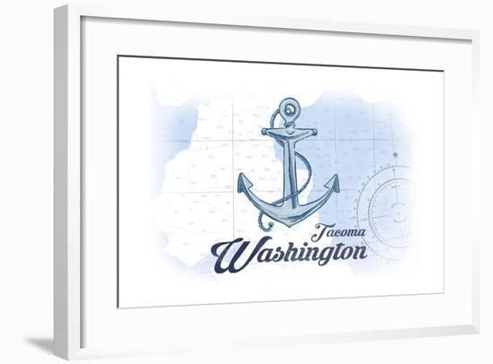 Tacoma, Washington - Anchor - Blue - Coastal Icon-Lantern Press-Framed Art Print