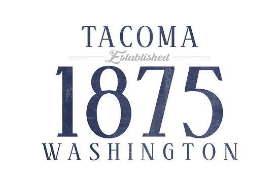 Tacoma, Washington - Established Date (Blue)-Lantern Press-Art Print